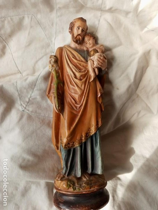 SAN JOSE CON EL NIÑO FIGURA ANTIGUA DE TERRACOTA (Arte - Escultura - Terracota )