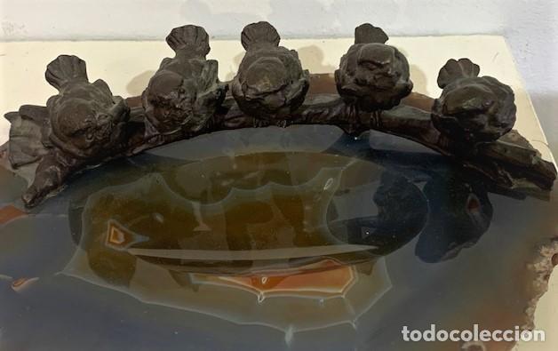 Arte: BRONCE DE VIENA. RAMA CON PÁJAROS SOBRE ÁGATA. - Foto 2 - 214507505