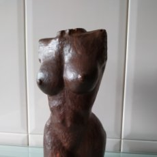 Arte: BUSTO FEMENINO MADERA TALLADA ANTIGUA, ANDRÉS BORGES. Lote 214717977