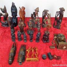 Arte: LOTE DE 22 ESCULTURAS EN MADERA TALLADA A MANO. AFRICA, ASIA, EUROPA. SIGLO XX. Lote 215426120