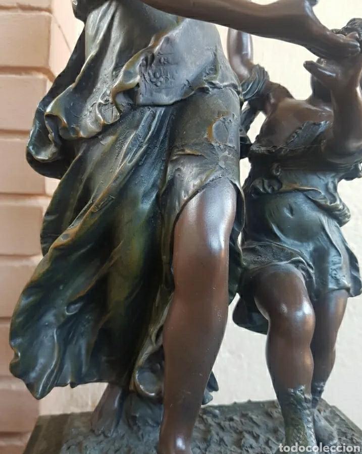 Arte: Auguste Moreau 1834 - 1917 Escultura art decó figura de mujer con niño en el pedestal 61cm - Foto 5 - 216579513