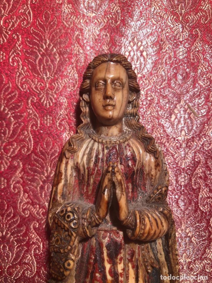 BONITA VIRGEN INDO PORTUGUESA DE GOA. BARROCO. INDIA. SIGLO XVII. (Arte - Escultura - Marfil)