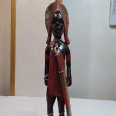 Arte: PRECIOSA ESCULTURA DE MADERA AFRICANA CON TODO TIPO DE DETALLES Y PINTADA A MANO. Lote 217281080