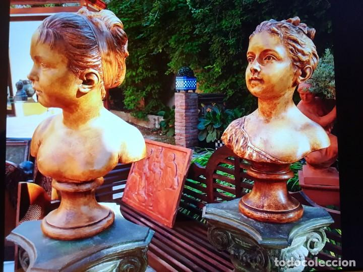 Arte: Pareja bustos terracota S XIX. SEGÚN MODELOS de HOUDON y G. PUGI - Foto 2 - 182743706