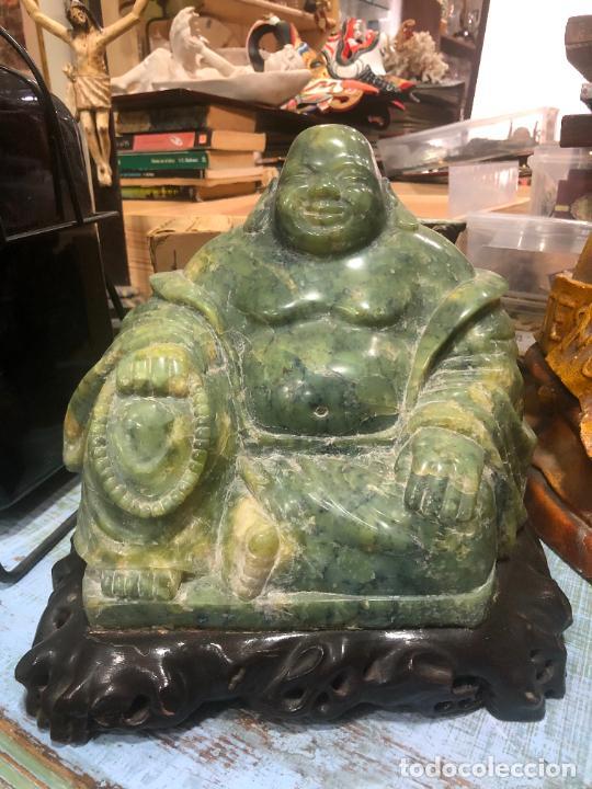 FANTASTICA FIGURA BUDA TALLADO EN JADE JADEITA - PESO 7800 GR. - MEDIDA 22X23X21 CM (Arte - Escultura - Piedra)