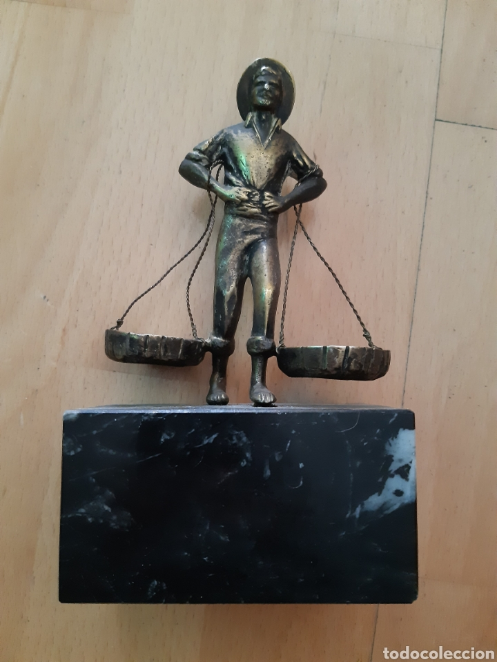 FIGURA BRONCE Y MARMOL DE PESCADOR MALAGUEÑO. VER DESCRIPCIÓN (Arte - Escultura - Bronce)