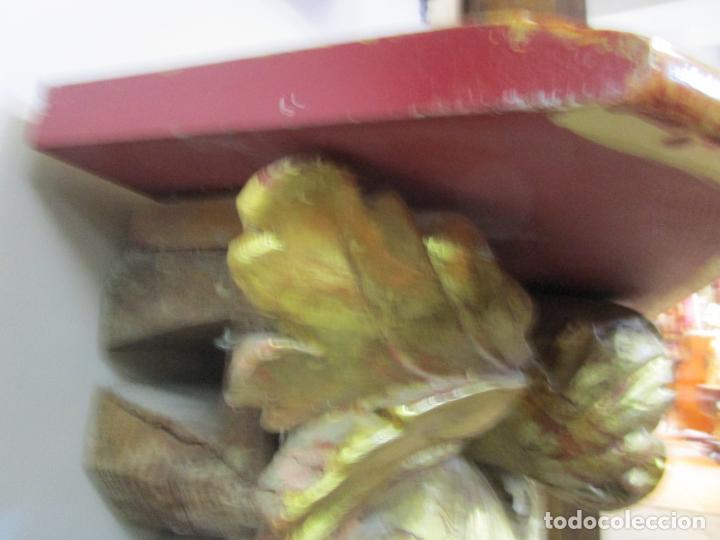 Arte: Preciosa Ménsula Barroca - Peana - Retablo en Talla de Madera Dorada en Pan de Oro - S. XVIII - Foto 10 - 219207367