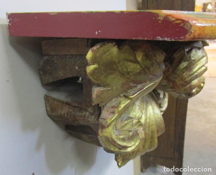 Arte: Preciosa Ménsula Barroca - Peana - Retablo en Talla de Madera Dorada en Pan de Oro - S. XVIII - Foto 11 - 219207367