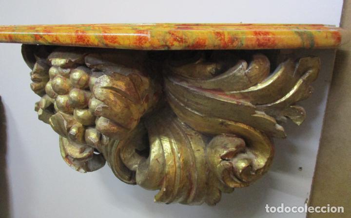 Arte: Preciosa Ménsula Barroca - Peana - Retablo en Talla de Madera Dorada en Pan de Oro - S. XVIII - Foto 12 - 219207367