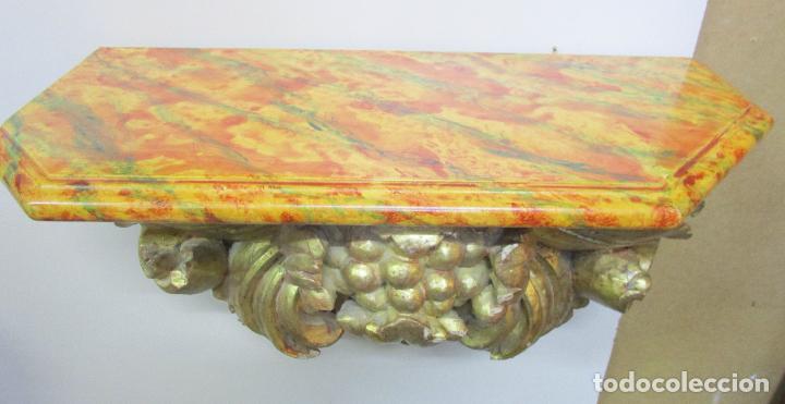 Arte: Preciosa Ménsula Barroca - Peana - Retablo en Talla de Madera Dorada en Pan de Oro - S. XVIII - Foto 17 - 219207367