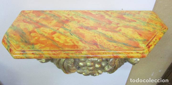 Arte: Preciosa Ménsula Barroca - Peana - Retablo en Talla de Madera Dorada en Pan de Oro - S. XVIII - Foto 20 - 219207367