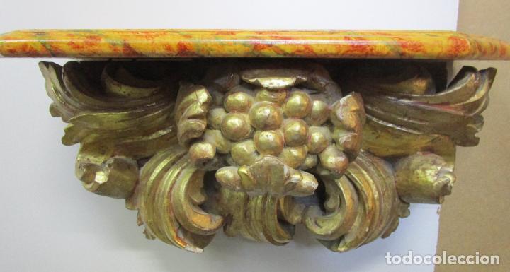 Arte: Preciosa Ménsula Barroca - Peana - Retablo en Talla de Madera Dorada en Pan de Oro - S. XVIII - Foto 22 - 219207367