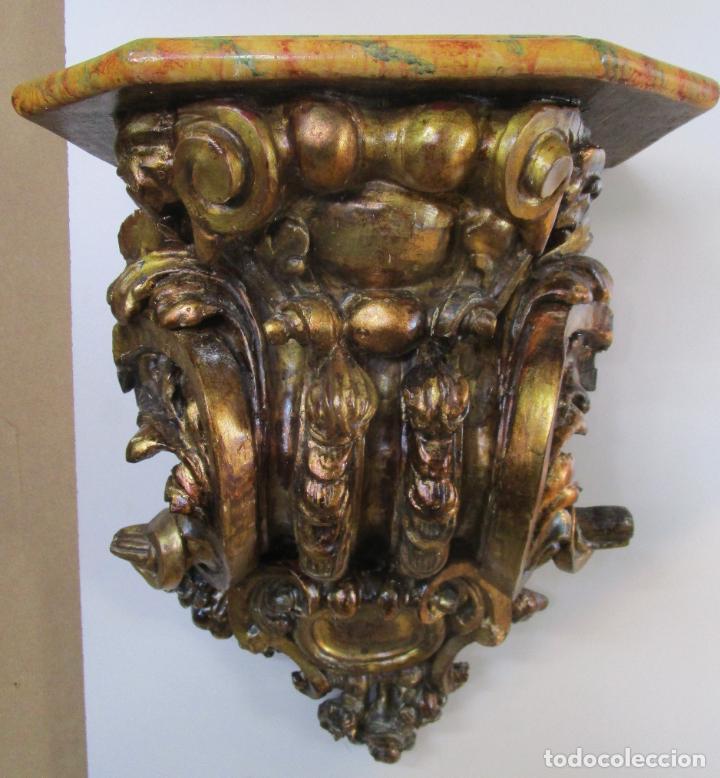 Arte: Preciosa Ménsula Barroca - Peana - Retablo en Talla de Madera Dorada en Pan de Oro - S. XVIII - Foto 2 - 219211728