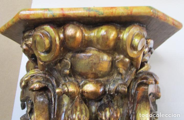 Arte: Preciosa Ménsula Barroca - Peana - Retablo en Talla de Madera Dorada en Pan de Oro - S. XVIII - Foto 6 - 219211728