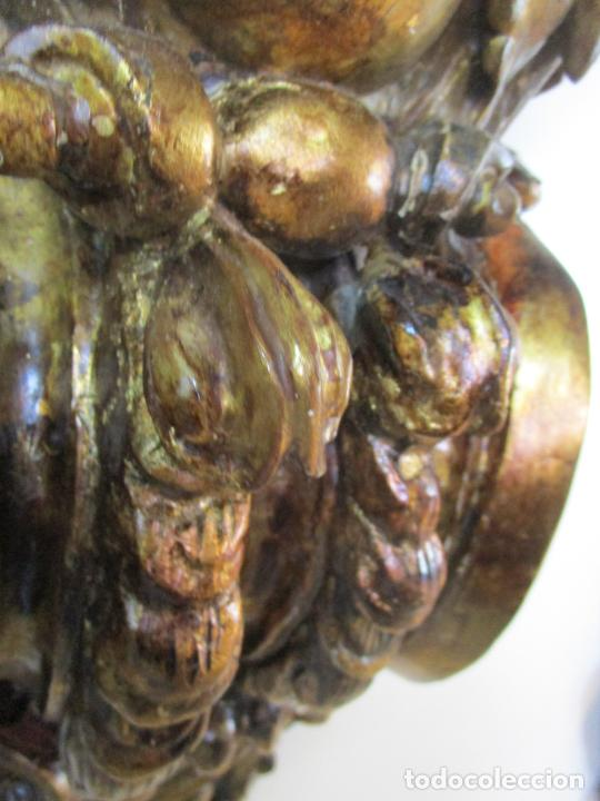 Arte: Preciosa Ménsula Barroca - Peana - Retablo en Talla de Madera Dorada en Pan de Oro - S. XVIII - Foto 7 - 219211728