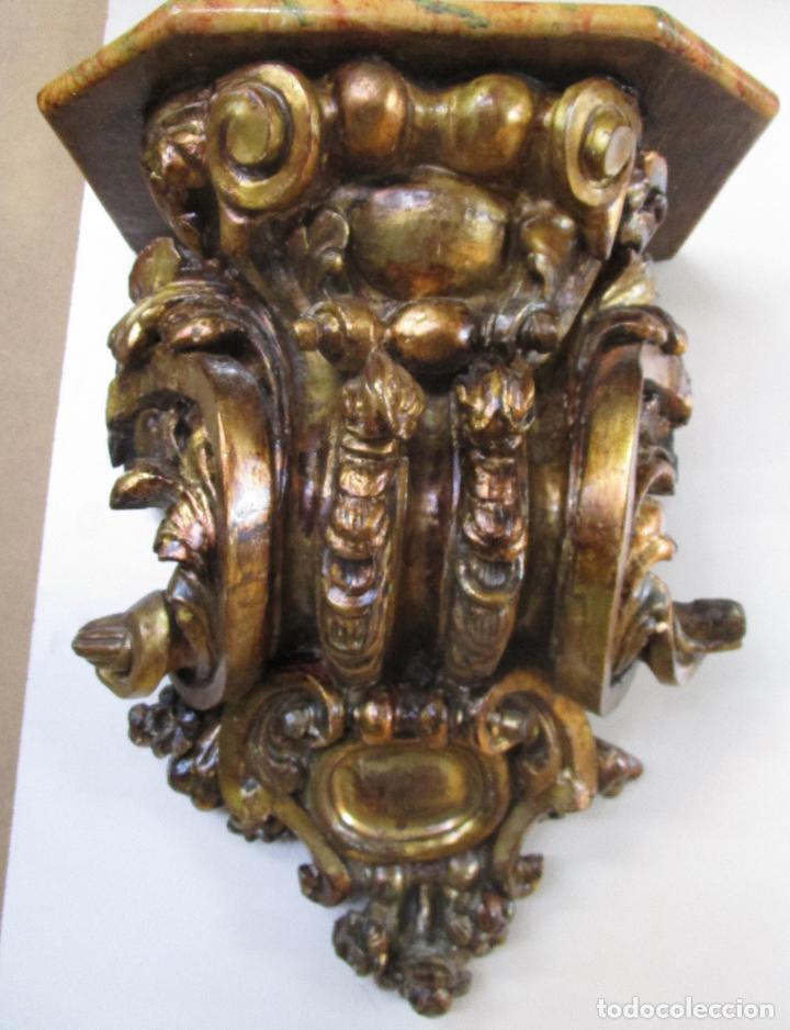 Arte: Preciosa Ménsula Barroca - Peana - Retablo en Talla de Madera Dorada en Pan de Oro - S. XVIII - Foto 8 - 219211728
