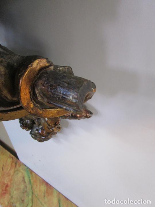 Arte: Preciosa Ménsula Barroca - Peana - Retablo en Talla de Madera Dorada en Pan de Oro - S. XVIII - Foto 11 - 219211728