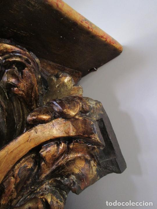 Arte: Preciosa Ménsula Barroca - Peana - Retablo en Talla de Madera Dorada en Pan de Oro - S. XVIII - Foto 12 - 219211728
