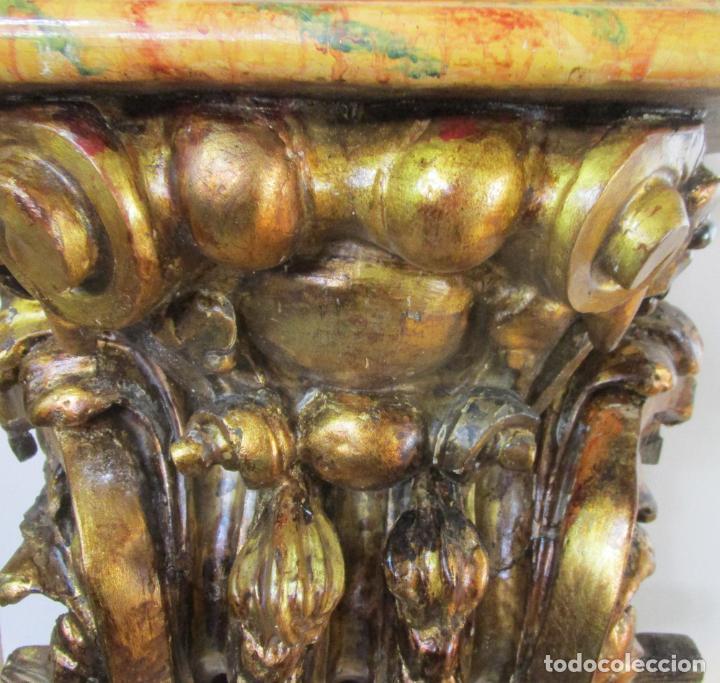 Arte: Preciosa Ménsula Barroca - Peana - Retablo en Talla de Madera Dorada en Pan de Oro - S. XVIII - Foto 14 - 219211728