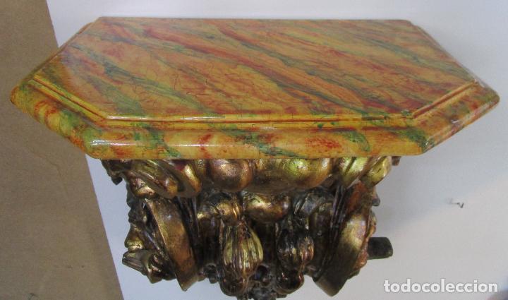 Arte: Preciosa Ménsula Barroca - Peana - Retablo en Talla de Madera Dorada en Pan de Oro - S. XVIII - Foto 15 - 219211728