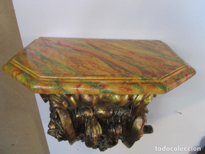 Arte: Preciosa Ménsula Barroca - Peana - Retablo en Talla de Madera Dorada en Pan de Oro - S. XVIII - Foto 16 - 219211728