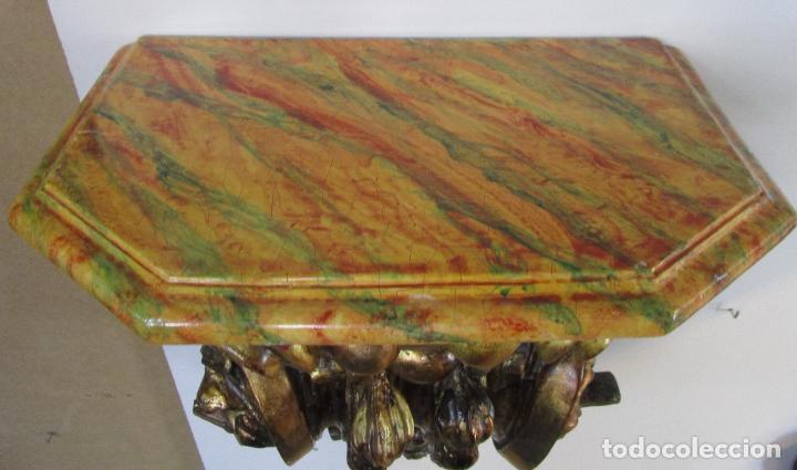 Arte: Preciosa Ménsula Barroca - Peana - Retablo en Talla de Madera Dorada en Pan de Oro - S. XVIII - Foto 17 - 219211728