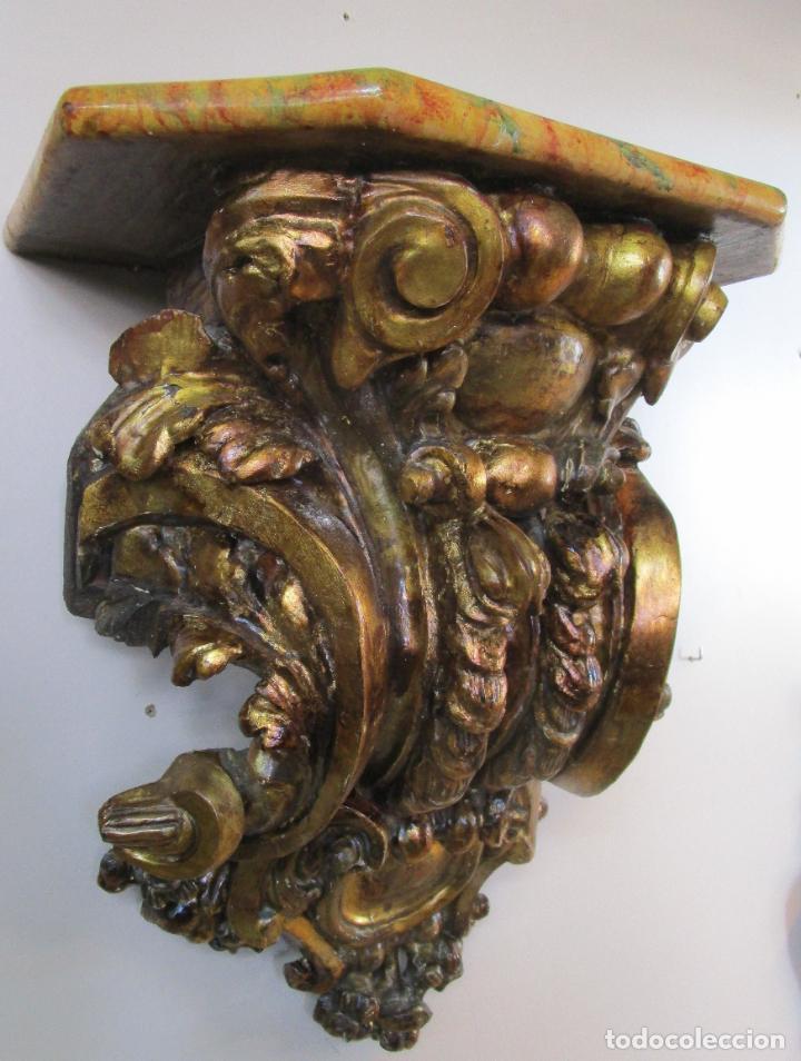 Arte: Preciosa Ménsula Barroca - Peana - Retablo en Talla de Madera Dorada en Pan de Oro - S. XVIII - Foto 18 - 219211728