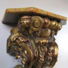 Arte: PRECIOSA MÉNSULA BARROCA - PEANA - RETABLO EN TALLA DE MADERA DORADA EN PAN DE ORO - S. XVIII. Lote 219211728