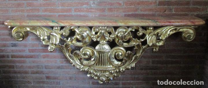 Arte: Bonita Consola, Ménsula Barroca - Peana - Retablo en Talla de Madera Dorada en Pan de Oro - S. XVIII - Foto 11 - 227996565