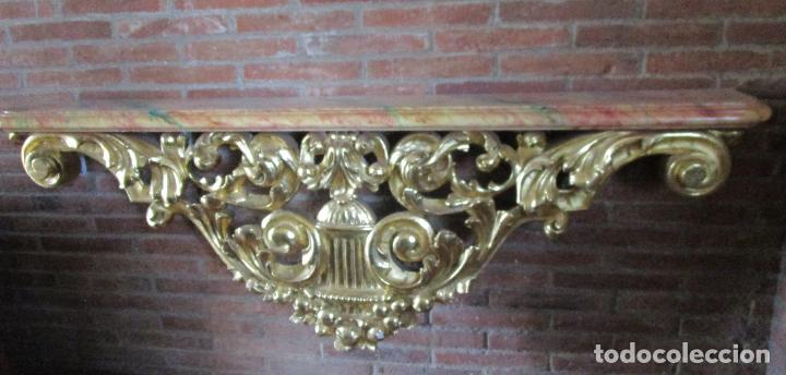 Arte: Bonita Consola, Ménsula Barroca - Peana - Retablo en Talla de Madera Dorada en Pan de Oro - S. XVIII - Foto 15 - 227996565