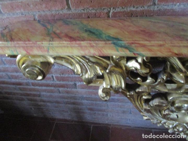 Arte: Bonita Consola, Ménsula Barroca - Peana - Retablo en Talla de Madera Dorada en Pan de Oro - S. XVIII - Foto 16 - 227996565
