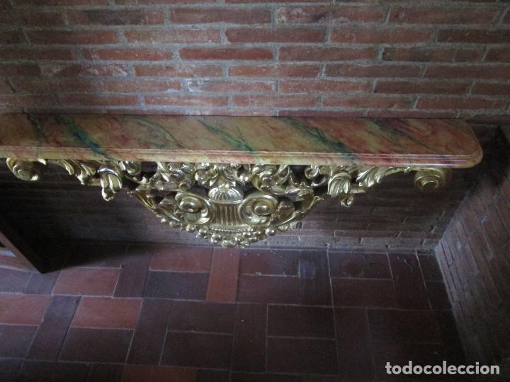 Arte: Bonita Consola, Ménsula Barroca - Peana - Retablo en Talla de Madera Dorada en Pan de Oro - S. XVIII - Foto 17 - 227996565