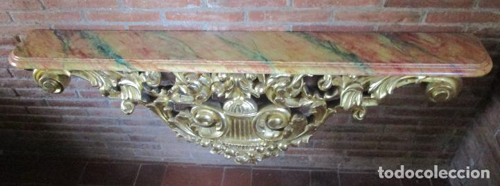 Arte: Bonita Consola, Ménsula Barroca - Peana - Retablo en Talla de Madera Dorada en Pan de Oro - S. XVIII - Foto 20 - 227996565