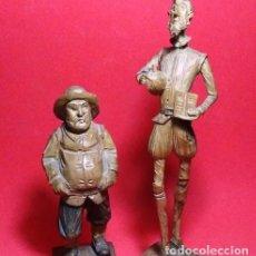 Arte: TALLA EN MADERA , DON QUIJOTE Y SANCHO PANZA. FIRMADO OURO,CALIDAD. Lote 219234940