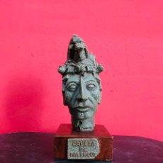 Arte: CABEZA DE PALENQUE FIGURA MAYA EN ESTUCO CON PIEDRAS DE CALCITA. Lote 219338425