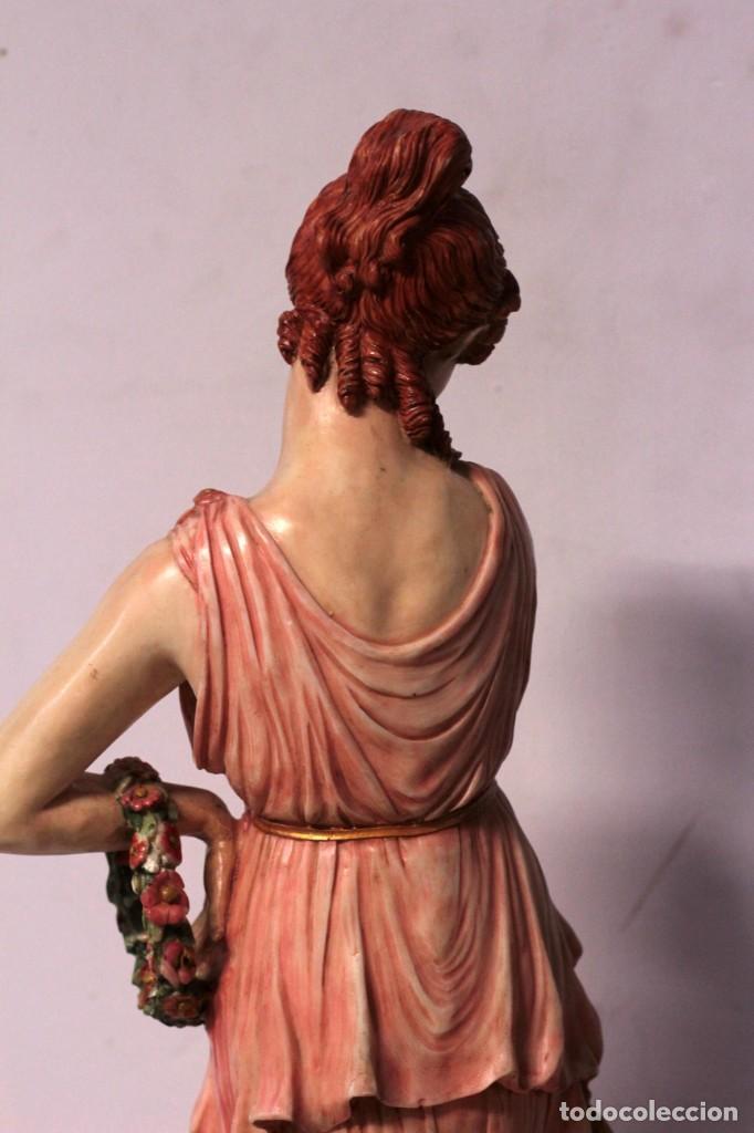 Arte: Antigua figura decorativa de gran tamaño. Mujer con flores. 66cm. Gran belleza - Foto 9 - 219398531