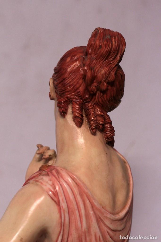 Arte: Antigua figura decorativa de gran tamaño. Mujer con flores. 66cm. Gran belleza - Foto 10 - 219398531