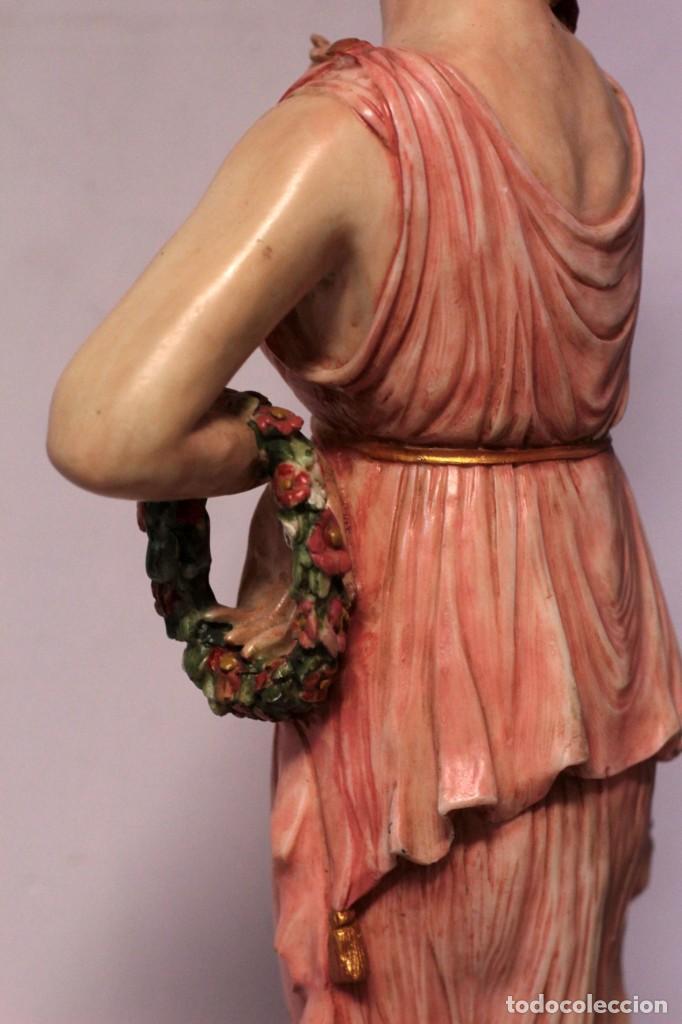 Arte: Antigua figura decorativa de gran tamaño. Mujer con flores. 66cm. Gran belleza - Foto 11 - 219398531