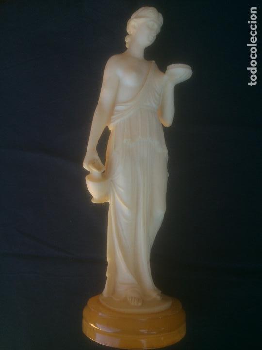 FIGURA GRIEGA DE ATENEA EN ALABASTRO (Arte - Escultura - Alabastro)