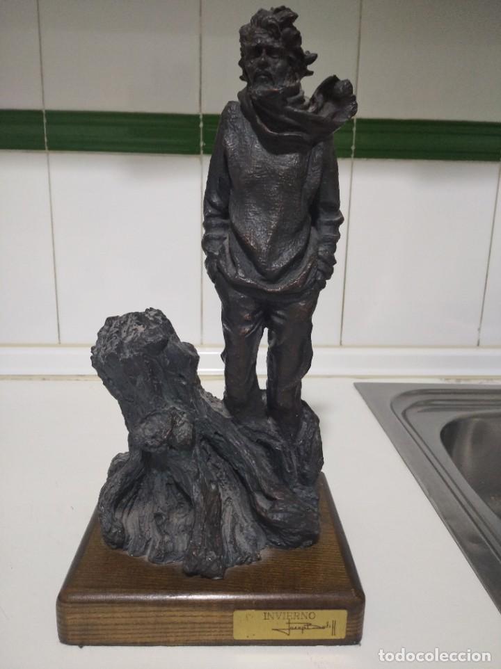 ESCULTURA DE JOSEP BOFIIL EL INVIERNO, RESINA CON PATINA DE BRONCE (Arte - Escultura - Resina)