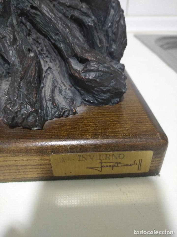 Arte: Escultura de Josep Bofiil el invierno, resina con patina de bronce - Foto 4 - 220783192