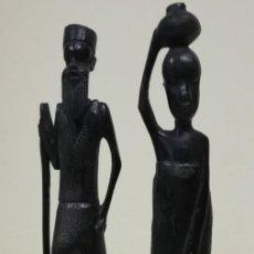 Arte: PAREJA TALLA AFRICANOS HECHO A MANO EBANO. Lote 220871285