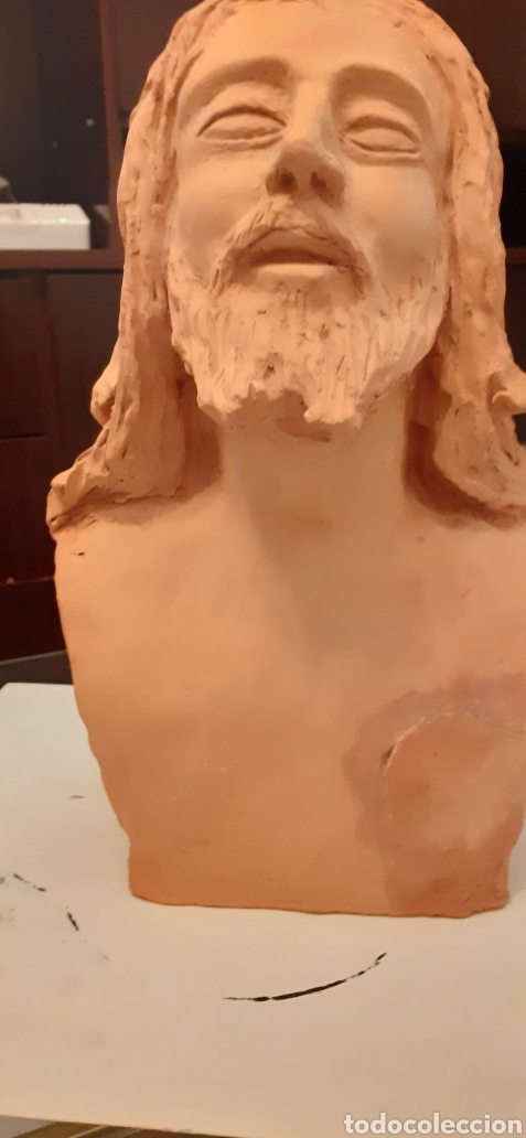 Arte: Busto de Cristo en terracota, 37 x 23cm - Foto 9 - 220881215