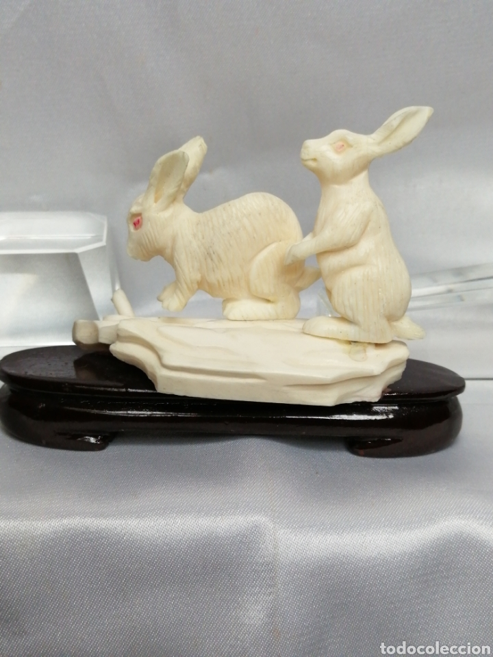 Arte: Escultura marfil tallado. Conejos - Foto 2 - 221000760