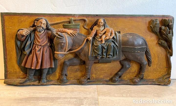 ANTIGUO RELIEVE EN TALLA DE MADERA S.XVII (Arte - Escultura - Madera)