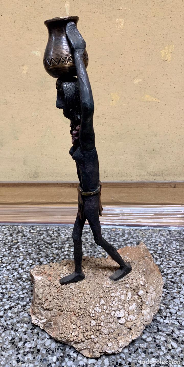 Arte: Josep Muray i Busqué, la Pobla de Claramunt, figura de hierro forjado, 44 cm de altura total - Foto 3 - 221623252