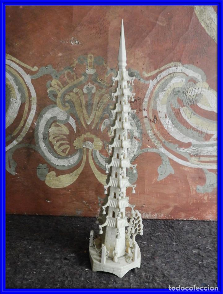 PAGODA DE MARFIL TALLA CHINA (Arte - Escultura - Marfil)