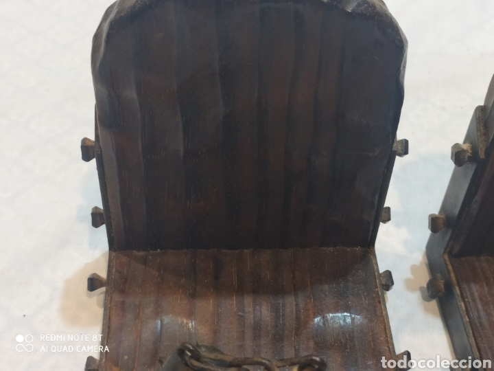Arte: Increíble sujeta libros de madera y hierro forjado principios de siglo XX - Foto 6 - 221946772