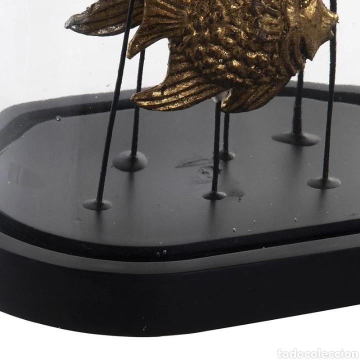 Arte: Precioso Fanal de cristal con base de madera en negro, con peces dorados y plateados terminados con - Foto 3 - 222171426