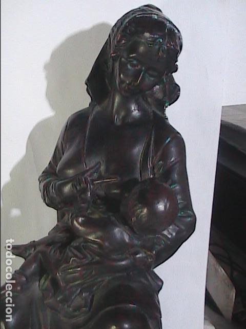 Arte: EXCELENTE ESCULTURA EN RESINA PATINADA AL BRONCE. MATERNIDAD. - Foto 10 - 222171990